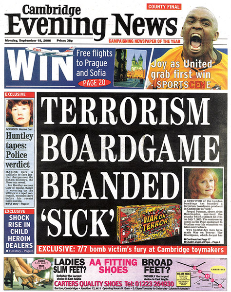 Cambridge Evening News brands 'Terrorism Boardgame' sick sick sick